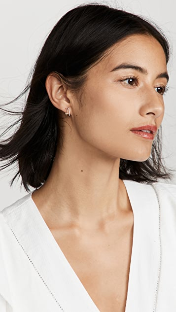 EF Collection Diamond Twist Double Huggie Earrings