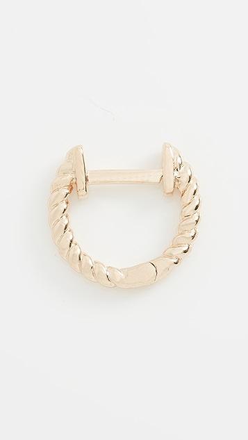 EF Collection Gold Twist Mini Huggie Earring