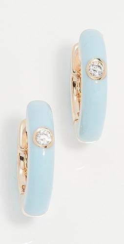 EF Collection - Single Diamond Enamel Huggies