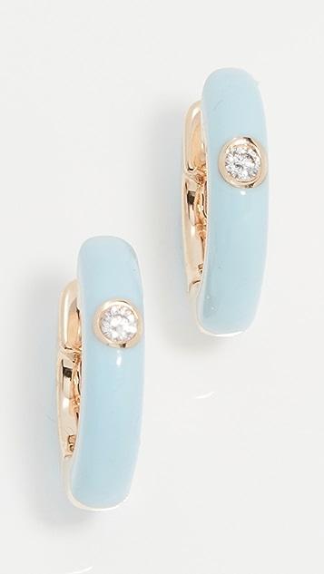 EF Collection Single Diamond Enamel Huggies