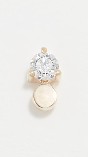 EF Collection 14k Gold Disc with Prong Diamond Stud