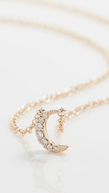 EF Collection 14k Diamond Moon Choker Necklace