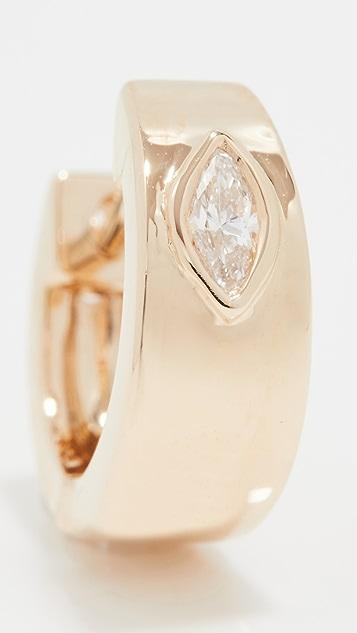 EF Collection Jumbo Huggie With Diamond Marquise Center