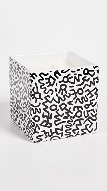 East Dane Gifts Keith Haring Black Pattern Square Candle