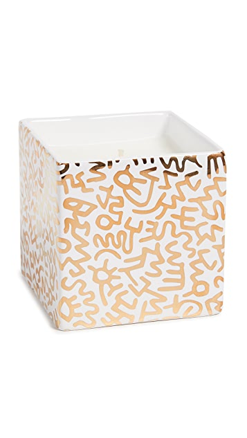 East Dane Gifts Keith Haring Gold Pattern Square Candle
