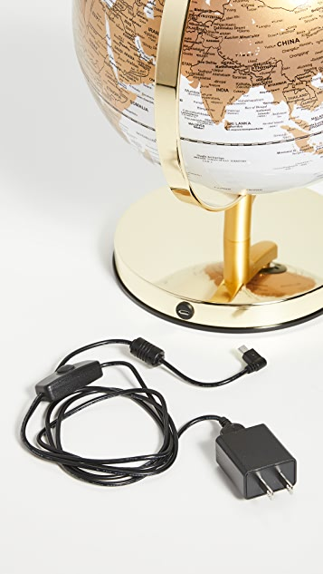 East Dane Gifts Globe Light with Brass Stand