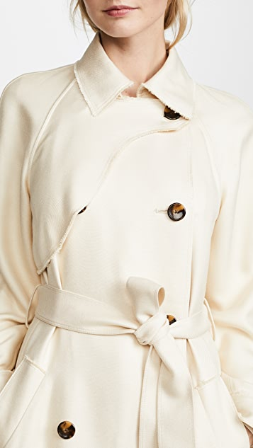 Elizabeth and James Dakota Viscose Pique Draped Trench Coat