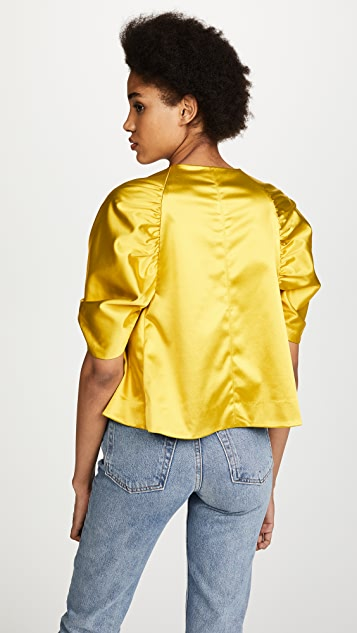 Elizabeth and James Mae Duchess Satin Cropped Top