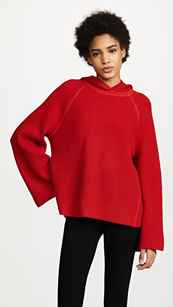 Elizabeth and James Tristan Hooded Waffle Stitch Sweater