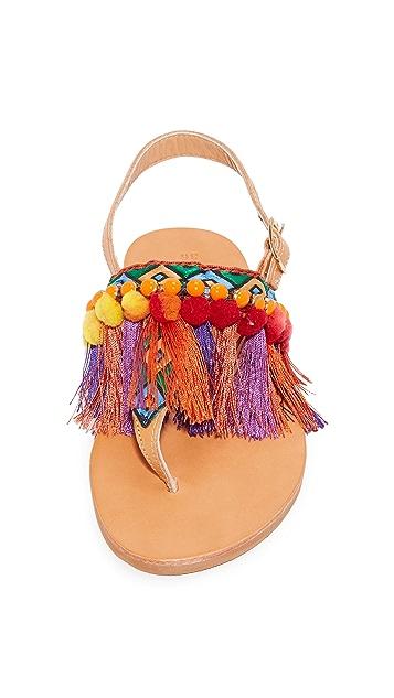 Elina Linardaki Dizzy Parrot Thong Sandals