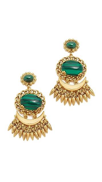 Elizabeth Cole Stockard Malachite Statement Earrings