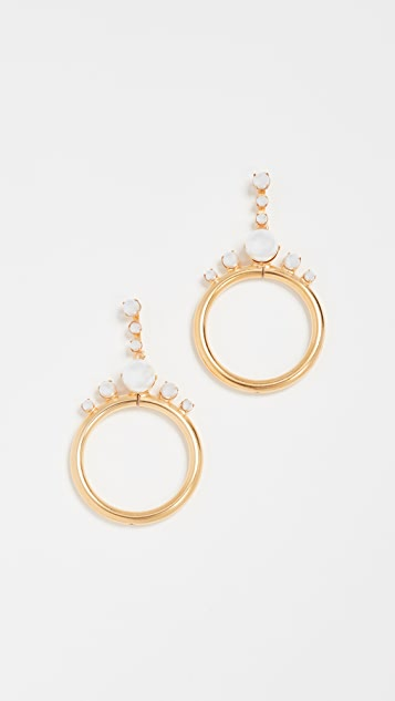 Elizabeth Cole Imitation Pearl Hoop Earrings