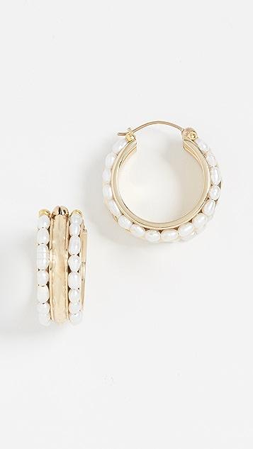 Ellery Классические серьги-кольца Berlot с культивированным рисовым жемчугом