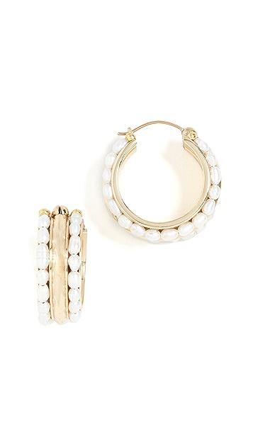 Ellery Berlot Classic Rice Pearl Hoop Earrings