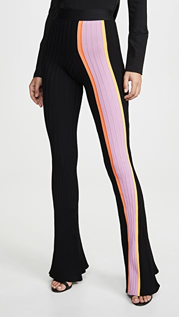 Ellery Pants Bottleneck Rib Flared Pants with Front Stripe