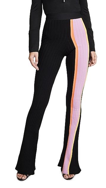 Ellery Расклешенные брюки Bottleneck из ткани в рубчик с полоской спереди