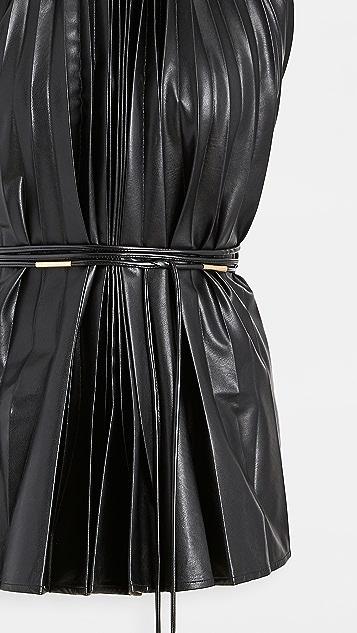 Ellery Philodemus Halter Pleated Top in Vegan Leather