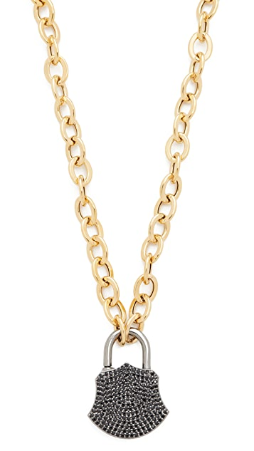 Ela Rae Spinel Lock Charm Necklace