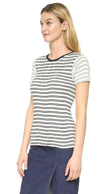Edith A. Miller Комбинированная футболка с округлым вырезом