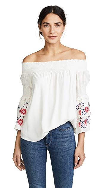 Ella Moon Embroidered Ruffle Blouse