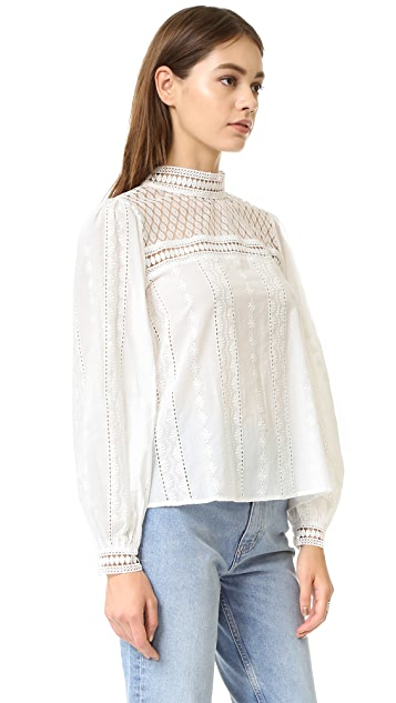 endless rose Woven Long Sleeve Lace Top