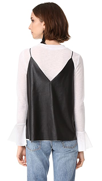 endless rose Pullover with Faux Leather Cami