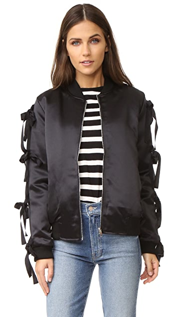 endless rose Patch Bomber Jacket with Ribbon Sleeves