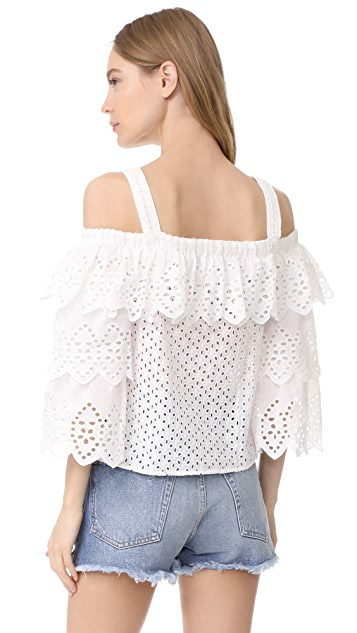 endless rose Cold Shoulder Top with Tiered Sleeves