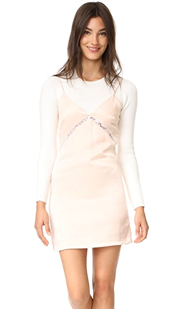 endless rose Slip Dress With Crop Sweater - Champagne Combo