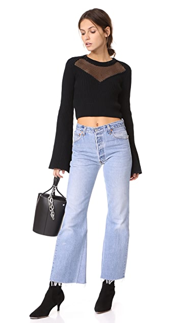 endless rose Mesh Yoke Belle Sleeve Crop Top