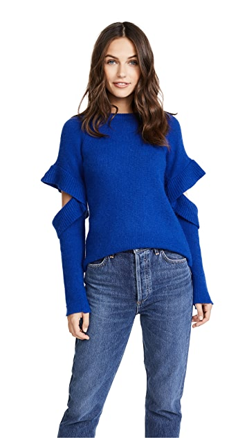 endless rose Sweater with Sleeve Ruffle Detail
