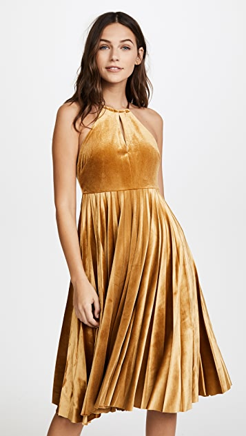 endless rose Strappy Velour Pleated Dress