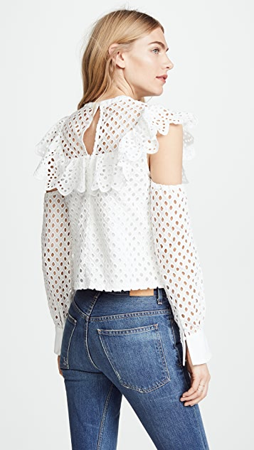 endless rose Cotton Eyelet Cold Shoulder Blouse