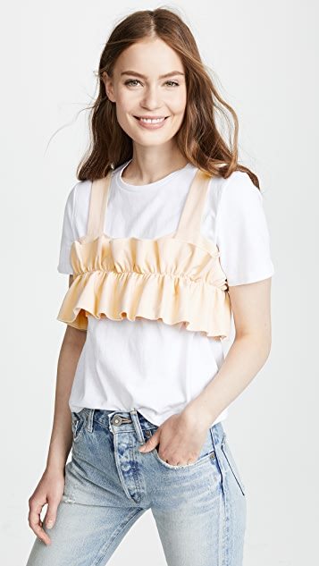 endless rose Ruffled Crop Top with T-Shirt