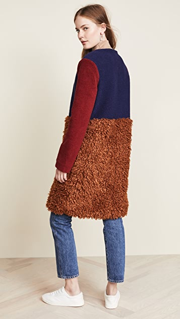 endless rose Fuzzy Colorblock Coat