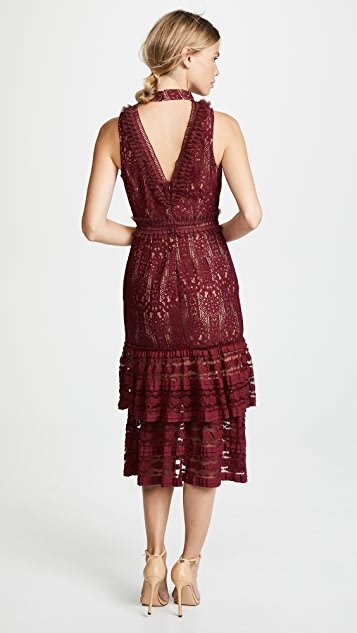 endless rose Lace Mock Neck Midi Dress