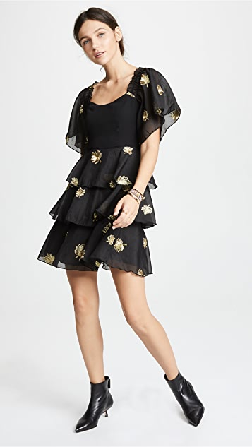 endless rose Metallic Embroidered Tiered Dress