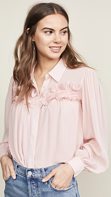 endless rose Chiffon Button Down Top - Powder Pink