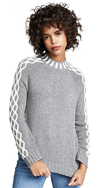 endless rose Contrast Cable Knit Sweater
