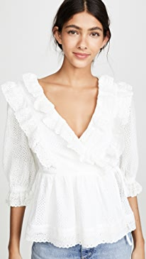 Frill Lace Wrap Blouse