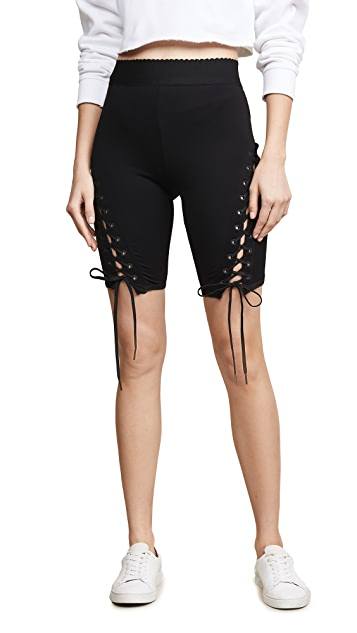 endless rose Lace Up Biker Shorts