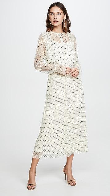 endless rose Meshed Polka Dot Midi Dress