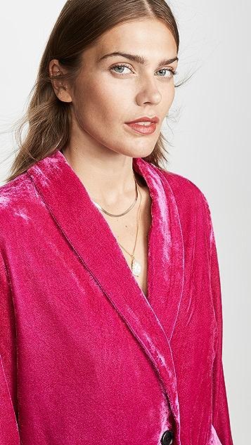 endless rose 天鹅绒单排扣西装外套