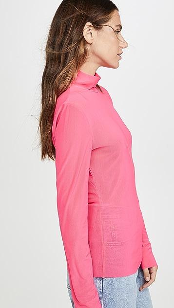 endless rose Футболка с длинными рукавами, воротником под горло и сетчатыми вставками