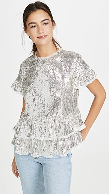 endless rose Sequin Tiered Blouse