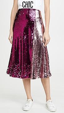 Colorblock Sequin Skirt