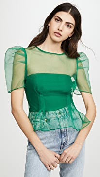 Puff Sleeve Sheer Top