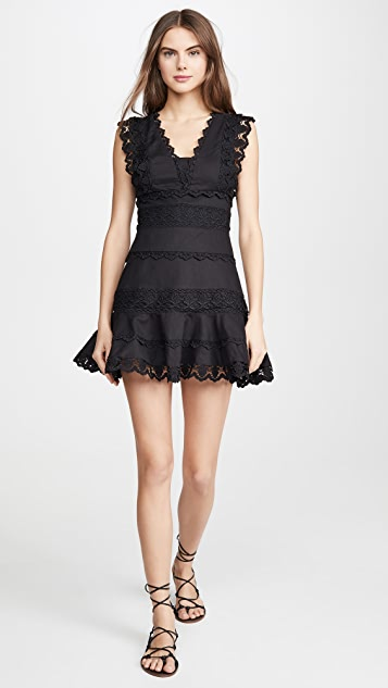 endless rose Plunging Neck Lace Trim Dress