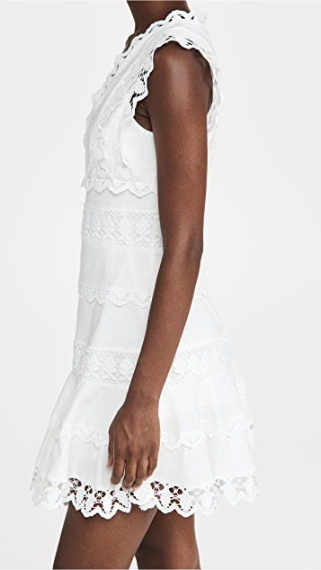 endless rose Plunging Neck Lace Trim Dress