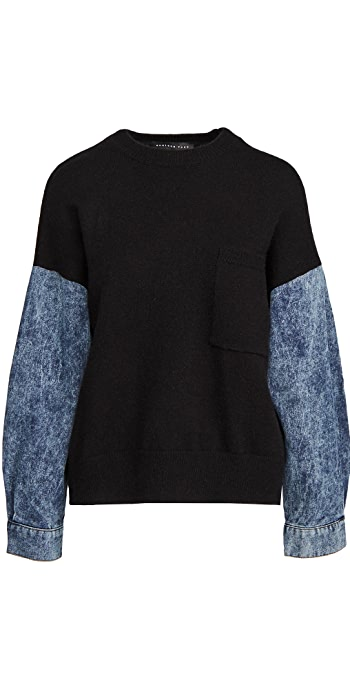 endless rose Denim Sleeve Sweatshirt - Black/Denim